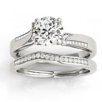 Diamond Pave Swirl Bridal Set Setting 14k White Gold (0.24ct)