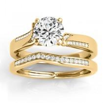 Diamond Pave Swirl Bridal Set Setting 14k Yellow Gold (0.24ct)