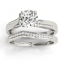 Diamond Pave Swirl Bridal Set Setting Platinum (0.24ct)
