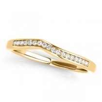 Diamond Pave Contoured Wedding Band 18k Yellow Gold (0.11ct)
