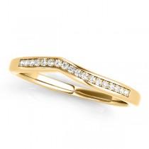 Diamond Pave Contoured Wedding Band 18k Yellow Gold (0.11ct)