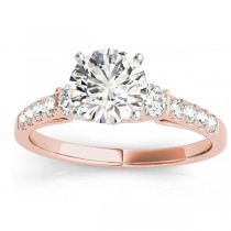 Diamond Three Stone Engagement Ring 14k Rose Gold (0.43ct)