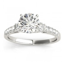 Diamond Three Stone Engagement Ring 14k White Gold (0.43ct)