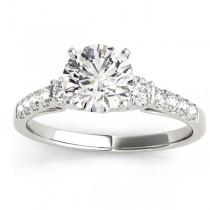 Diamond Three Stone Engagement Ring 14k White Gold (0.43ct)