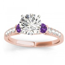 Diamond & Amethyst Three Stone Engagement Ring 14k Rose Gold (0.43ct)