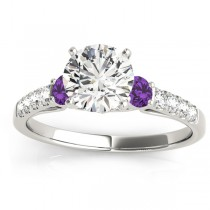 Diamond & Amethyst Three Stone Engagement Ring 14k White Gold (0.43ct)