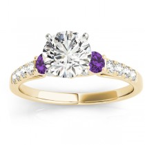 Diamond & Amethyst Three Stone Engagement Ring 14k Yellow Gold (0.43ct)