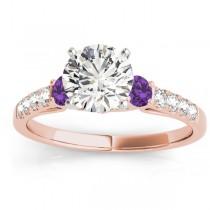 Diamond & Amethyst Three Stone Engagement Ring 18k Rose Gold (0.43ct)
