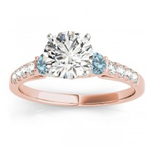 Diamond & Aquamarine Three Stone Engagement Ring 14k Rose Gold (0.43ct)