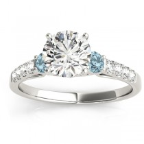 Diamond & Aquamarine Three Stone Engagement Ring 14k White Gold (0.43ct)