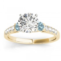 Diamond & Aquamarine Three Stone Engagement Ring 18k Yellow Gold (0.43ct)