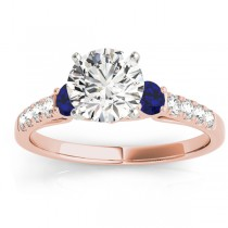 Diamond & Blue Sapphire Three Stone Engagement Ring 14k Rose Gold (0.43ct)