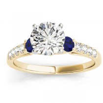 Diamond & Blue Sapphire Three Stone Engagement Ring 18k Yellow Gold (0.43ct)