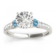 Diamond & Blue Topaz Three Stone Engagement Ring 14k White Gold (0.43ct)