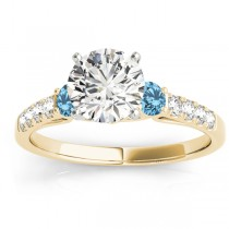 Diamond &  Blue Topaz Three Stone Engagement Ring 14k Yellow Gold (0.43ct)