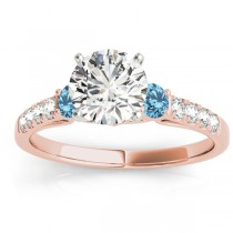 Diamond &  Blue Topaz Three Stone Engagement Ring 18k Rose Gold (0.43ct)