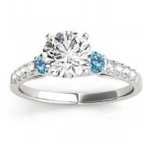 Diamond &  Blue Topaz Three Stone Engagement Ring 18k White Gold (0.38ct)