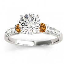 Diamond & Citrine Three Stone Engagement Ring 14k White Gold (0.38ct)