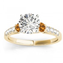 Diamond & Citrine Three Stone Engagement Ring 14k Yellow Gold (0.43ct)