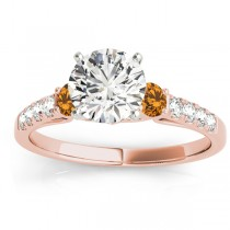 Diamond & Citrine Three Stone Engagement Ring 18k Rose Gold (0.43ct)