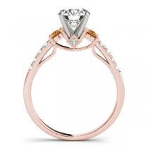 Diamond & Citrine Three Stone Engagement Ring 18k Rose Gold (0.43ct)