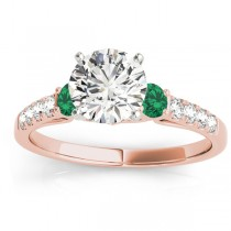 Diamond & Emerald Three Stone Engagement Ring 14k Rose Gold (0.38ct)