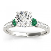 Diamond & Emerald Three Stone Engagement Ring 14k White Gold (0.43ct)