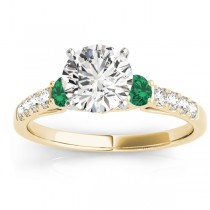 Diamond & Emerald Three Stone Engagement Ring 14k Yellow Gold (0.43ct)