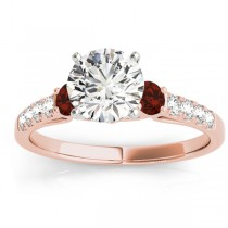 Diamond & Garnet Three Stone Engagement Ring 14k Rose Gold (0.43ct)