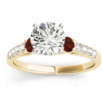 Diamond & Garnet Three Stone Engagement Ring 14k Yellow Gold (0.43ct)