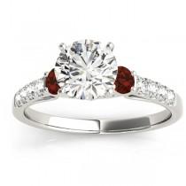 Diamond & Garnet Three Stone Engagement Ring 18k White Gold (0.38ct)