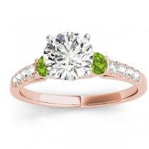 Diamond & Peridot Three Stone Engagement Ring 14k Rose Gold (0.43ct)