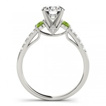 Diamond & Peridot Three Stone Engagement Ring 14k White Gold (0.43ct)|escape