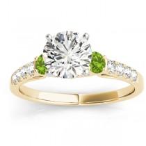 Diamond & Peridot Three Stone Engagement Ring 14k Yellow Gold (0.38ct)