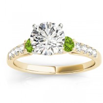 Diamond & Peridot Three Stone Engagement Ring 18k Yellow Gold (0.43ct)