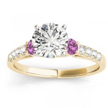 Diamond & Pink Sapphire Three Stone Engagement Ring 14k Yellow Gold (0.43ct)