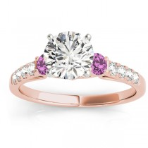 Diamond & Pink Sapphire Three Stone Engagement Ring 18k Rose Gold (0.43ct)