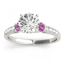 Diamond & Pink Sapphire Three Stone Engagement Ring 18k White Gold (0.43ct)