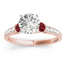 Diamond & Ruby Three Stone Engagement Ring 14k Rose Gold (0.43ct)