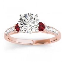 Diamond & Ruby Three Stone Engagement Ring 14k Rose Gold (0.43ct)