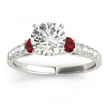 Diamond & Ruby Three Stone Engagement Ring 14k White Gold (0.43ct)