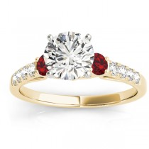 Diamond & Ruby Three Stone Engagement Ring 18k Yellow Gold (0.43ct)