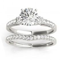 Diamond Three Stone Bridal Set Ring 14k White Gold (0.55ct)
