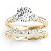 Diamond Three Stone Bridal Set Ring 14k Yellow Gold (0.55ct)