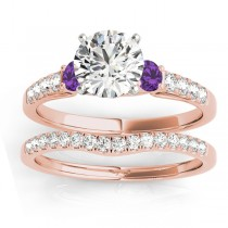 Diamond & Amethyst Three Stone Bridal Set Ring 14k Rose Gold (0.55ct)