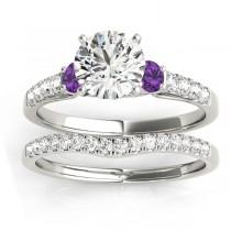 Diamond & Amethyst Three Stone Bridal Set Ring 14k White Gold (0.55ct)