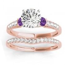 Diamond & Amethyst Three Stone Bridal Set Ring 18k Rose Gold (0.55ct)