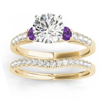 Diamond & Amethyst Three Stone Bridal Set Ring 18k Yellow Gold (0.55ct)