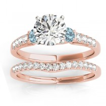 Diamond & Aquamarine Three Stone Bridal Set Ring 14k Rose Gold (0.55ct)