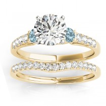 Diamond & Aquamarine Three Stone Bridal Set Ring 14k Yellow Gold (0.55ct)